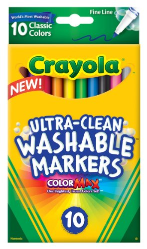 - Crayola Ultra-Clean Fine Line Washable Markers, Color Max, 10 Count
