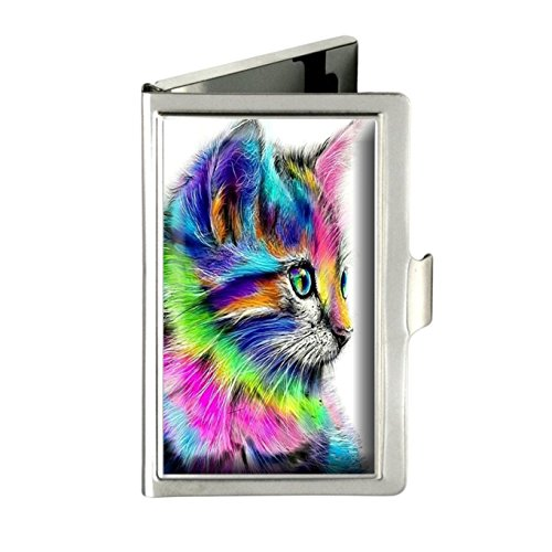 Colorful Cat (Caikem Colorful Cat Custom Personalized Stainless Steel Silver Business Card Holder Pocket Business Name Credit Card ID Card Wallet)