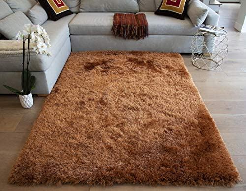 LA Romance Shag Plush Furry Fuzzy Pile Large Big Shaggy Modern Soft Furry 8-Feet-by-10-Feet Polyester Made Area Rug Carpet Rug Orange Rust Color