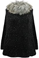 Luxury Divas Knit Poncho With Faux Fur Neckline