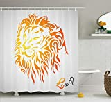 Ambesonne Astrology Shower Curtain, Leo Zodiac Sign on Plain Background Sun Mystic Lion King Self Power Universe Theme, Cloth Fabric Bathroom Decor Set with Hooks, 70' Long, Orange