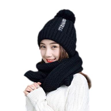 40c04a3a160 Women's Winter Hat Winter Scarf Set Warm Knit Plus Velvet Thickening ...