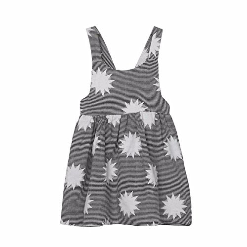 TATGB Toddler Baby Kids Girls Summer Sleeveless Beach Sundress Sun Stripe Party Dress Fashion Baby Unisex Sleeveless Super Cute Cotton Gray 4T