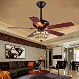 LuxureFan Retro Classic Ceiling Fan Tiffany Style Light Cover Handmade with 5 Wood Leaves Finished by Mahogany and have Reverse Function Elegant for Decoration Home Restaurant Pull Chain (52Inch)