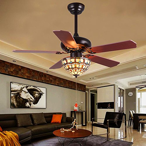 LuxureFan Retro Classic Ceiling Fan Tiffany Style Light Cover Handmade with 5 Wood Leaves Finished by Mahogany and have Reverse Function Elegant for Decoration Home Restaurant Pull Chain (52Inch) (Tiffany Porch)