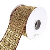 Homeford FRR092979W72640F Ribbon, 2-1/2'', Cream/Red