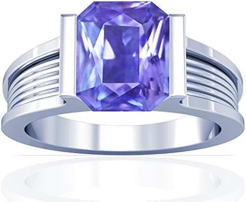 Platinum Emerald Cut Blue Sapphire Womens Astrological Ring
