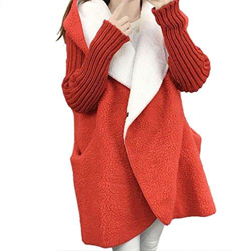 Women Oversized Sweater wool Cardigan Sleeve Loose Knitted Hooded Red Coat Long Lady rSBtXr
