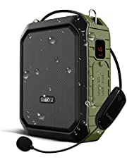 Voice Amplifier Wireless Speaker with Microphone Headset for Teachers Parkinsons Tour Guide Bluetooth Pa 18W Waterproof WB800 (Wireless_Green)