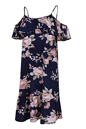 Off Floral Dress Gissi with Neckline Women's Summer Navy Ruffle Shoulder Print Casual Mini E8wXwq1xO