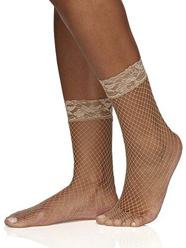 Berkshire Women's Fishnet Anklet Socks with Lace Top, tan, Regular (Shoe Size 6-9)