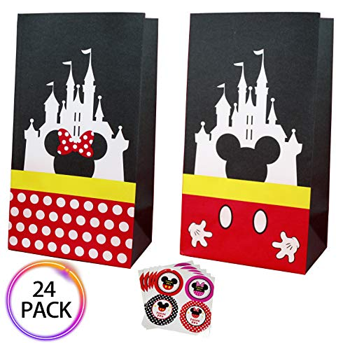 (QMZ Party favor Gift Bags Candy Treat Bags Birthday Baby Shower Wedding Mickey Minnie Theme Decorations Supplies with Stickers Set of)