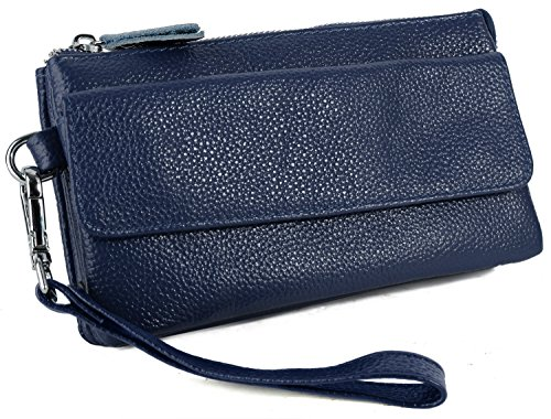Yaluxe Women's Leather Smartphone Wristlet Crossbody Clutch with RFID Blocking Card Slots Navy Blue