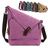 AmHoo Canvas Crossbody Bag for Women Genuine Leather Messenger Purse Handbags Shoulder Bag Hobo Totes Unisex,Rose