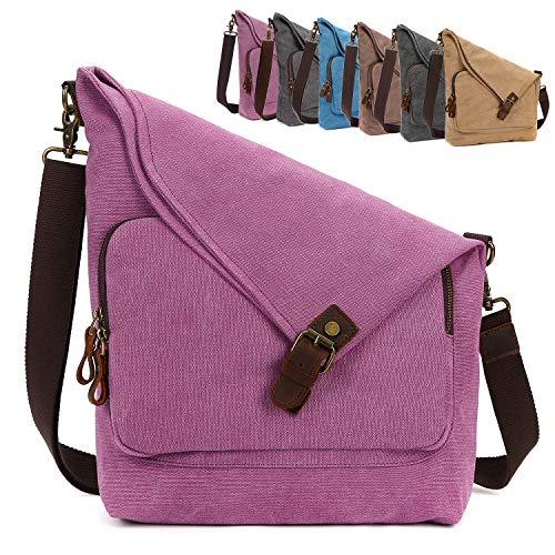 (AmHoo Canvas Crossbody Bag for Women Genuine Leather Messenger Purse Handbags Shoulder Bag Hobo Totes Unisex,Rose)