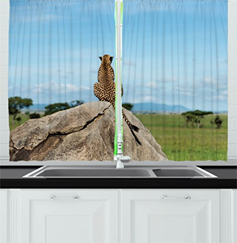 Jungle Decor Kitchen Curtains by Ambesonne, Wild Cheetah Sitting on a Rock and Looking away Asian National Park Landscape, Window Drapes 2 Panels Set for Kitchen Cafe, 55W X 39L Inches, Green Grey