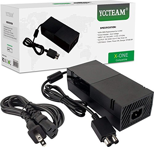 1 Power Adapter - YCCTEAM Xbox One Power Supply Brick, [Newest Quietest Version] AC Adapter Cord Replacement Charger for Xbox One with Cable 100-240V Auto Voltage, Black