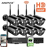 8 Channel Security Camera System, 8 Channel 1080P NVR and 8pcs 960P Wireless Cameras Outdoor with 100ft (30m) Night Vision, IP66 with 2TB Hard Drive (Black)