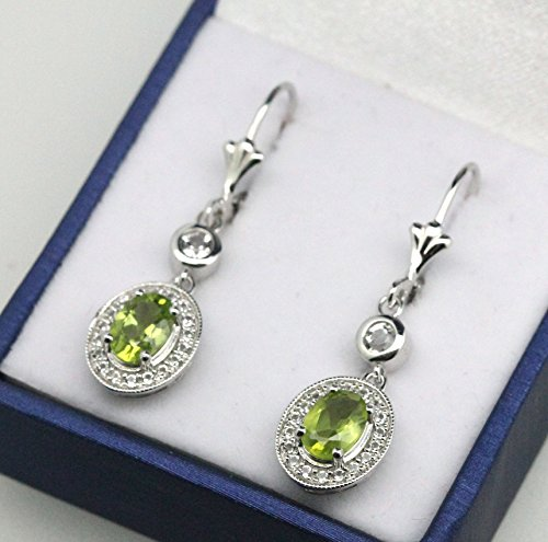 Sterling Silver Oval Cut Genuine Natural Peridot & White Topaz Leverback Halo Design Drop Earrings by BL Jewelry (Image #1)