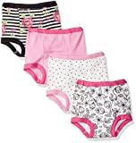 Lamaze Girls' Toddler Organic 4 Pack Training Pants, White, 3T