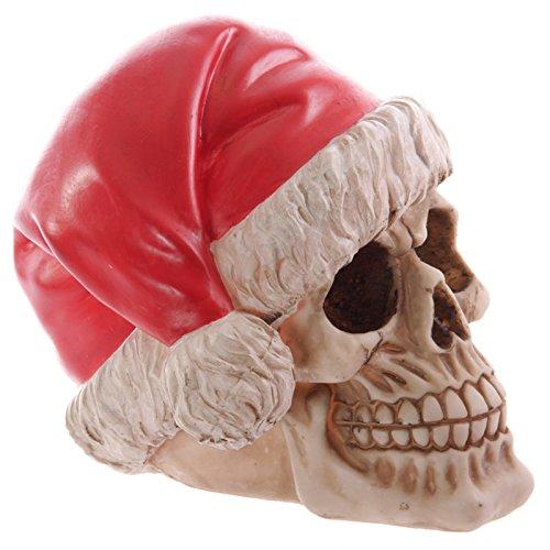 Funky Skull Decorative Wearing Santa Hat