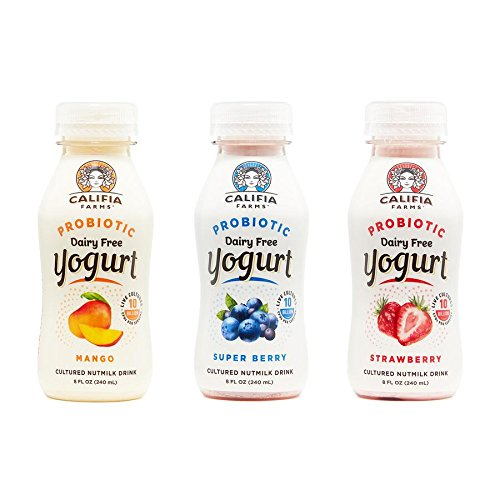 Califia Farms Variety Pack of Strawberry/Super Berry/Mango Probiotic Drinkable Yogurt, 8 Oz (Pack of 9) | Dairy Free | Plant Based | Nut Yogurt | Vegan | Non-GMO