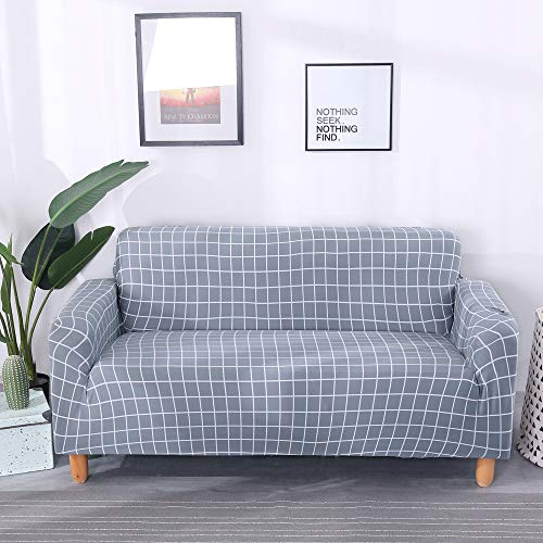 Lamberia Printed Sofa Cover Stretch Couch Cover Sofa Slipcovers for 4 Cushion Couch with One Free Pillow Case (Gingham, Sofa-4 Seater)