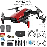 DJI Mavic Air (Flame Red) CP.PT.00000147.01 + DJI Intelligent Flight Battery for Mavic Air and Much More