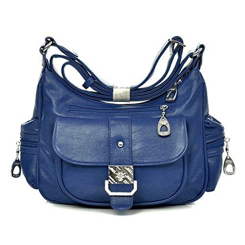 Nueva moda Vintage Lady bolsos de hombro bolsillos múltiples mujeres Messenger Bags Blue