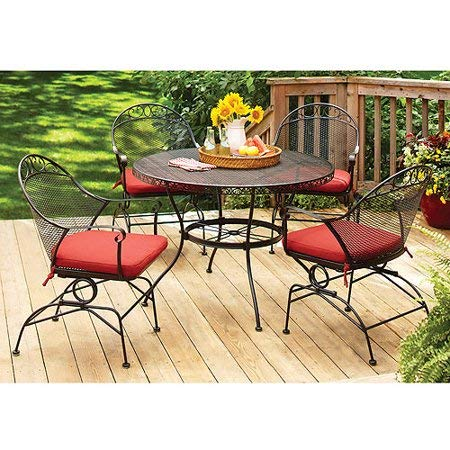 Better Homes and Gardens Clayton Court 5pc Patio Dining Set, Black/Red, Seats 4 from Better Homes & Gardens