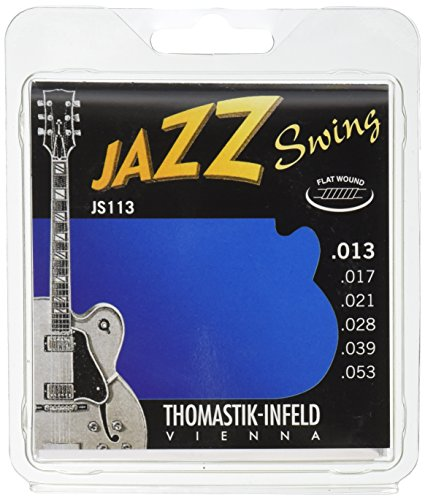 Thomastik-Infeld JS113 Jazz Guitar Swing Series 6 String Set - Pure Nickel Flat Wounds E, B, G, D, A, E Set