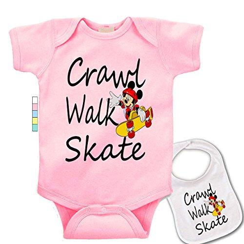 (babybytes Crawl Walk Skate - Sports Skateboarding Custom Baby Bodysuit Onesie & Bib)