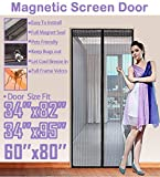 TheFitLife 62''x81'' Magnetic Screen Door Fits doors up to 60''x80'' Max Full Frame Velcro Heavy Duty Mesh