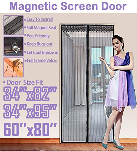 TheFitLife 62''x81'' Magnetic Screen Door Fits doors up to 60''x80'' Max Full Frame Velcro Heavy Duty Mesh (60x60 Screen)