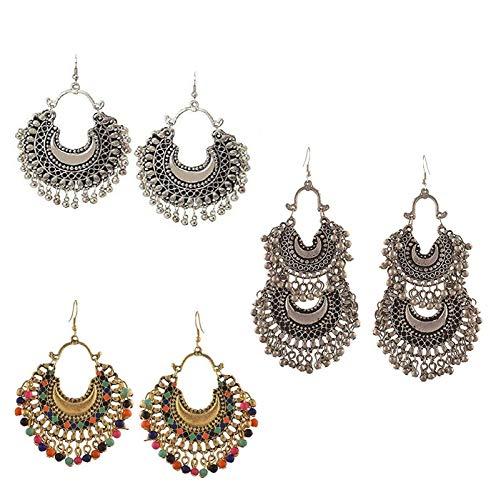 Shining Angel Fashion Factory Afghani Tribal Multicolour Alloy Oxidized Silver Metallic Dangle Chandbali Earrings for…