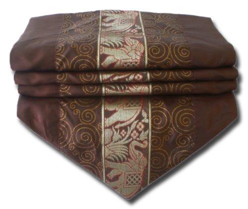 soljo - tablecloth tablerunner table runner linen Thai Silk Elegant precious Elephant 150/200/250 cm x 30 cm many colors (brown, 200 cm x 30 - Precious Elephant