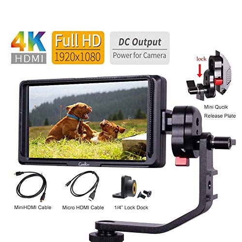 5 inch Peaking Focus Assist on Camera Field Video Monitor IPS Screen with 4K HDMI Loop Through and...