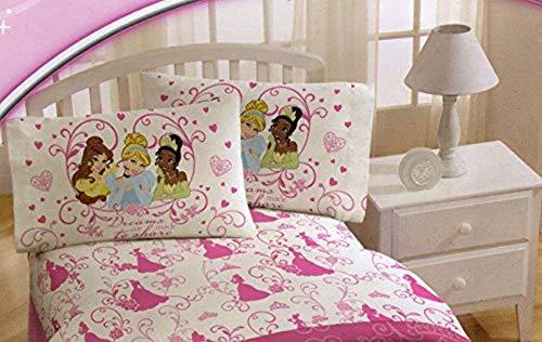 Disney Princess Sheet Set in Full Size ~ Cinderella, Tiana, Sleeping Beauty & Belle - Disney Princess Full Comforter