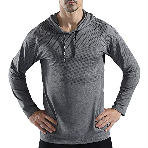 Gerlobal Mens Gym Workout Active Muscle Bodybuilding Long Sleeve Hoodies Casual Hooded Sweatshirts Light Grey,Medium