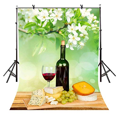 VVM 5x7Ft Catering Food Backdrop Pear Flower Backdrop and Cheese Red Wine Wooden Raisins Board Table Photography Studio Backdrop Custom Photography Background Prop LXVV156
