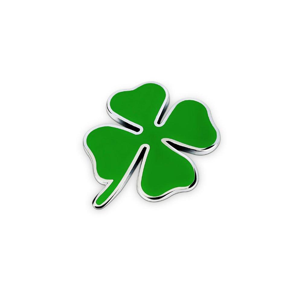 Dsycar 3D M/étal Chanceux Tr/èfle Logo Voiture Badge Embl/ème Autocollant 4 Pcs Style Molet/é avec en Plastique Noyau Valve Caps pour Universal Car Styling Accessoires D/écoratifs