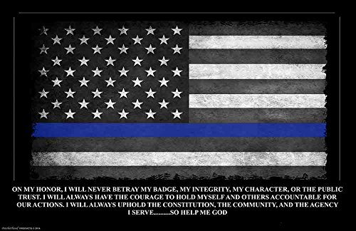 Police Gift - Police Officers Oath of Office American Flag with Blue Line Poster (Police Academy Poster)