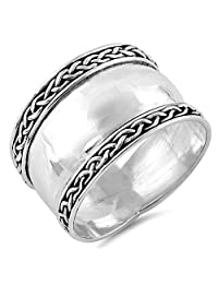 Wide Bali Statement Ring .925 Sterling Silver Rope Knot Milgrain Band Sizes 5-12