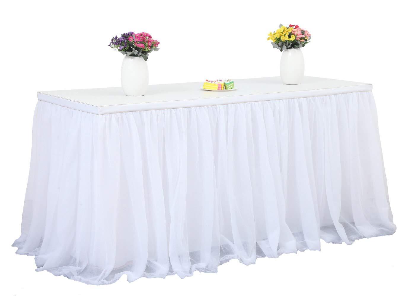 HBBMagic 3 capas de malla mullida tabla de tutú falda de vajilla de tul para la fiesta de bodas de cumpleaños Decoración para el hogar (425cm x 76cm, rosado)