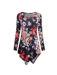 kingf Womens Long Sleeves Scoop Neck Dressy Tunic Shirts Hemline Blouse Tops