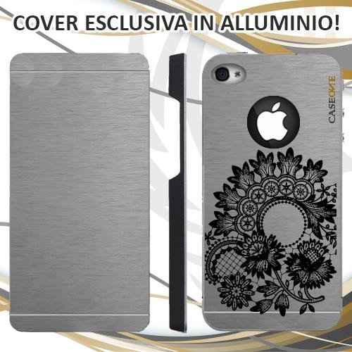 CUSTODIA COVER CASE FIORE MANDALA BLACK PER IPHONE 4S ALLUMINIO TRASPARENTE