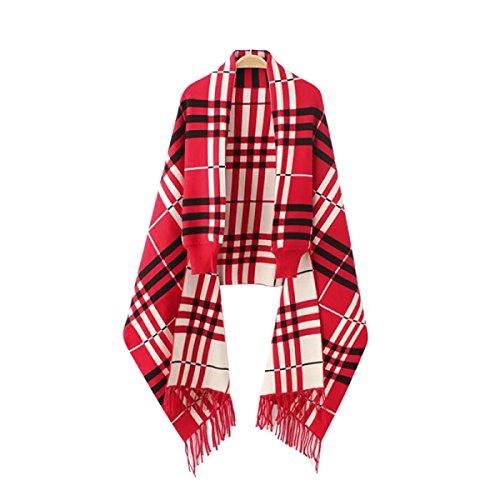 Bufanda Mantón Que Hace Punto Grande De La Tela Escocesa De Las Mujeres Red