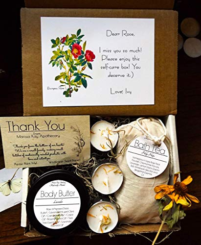 Personalized Self-Care Spa Box | Homegrown Medicinal Herb | Handmade Tub Tea + Herb Infused Body Butter + Candles | Bourgeau Rose