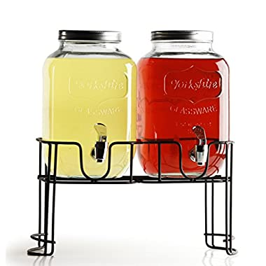 Circleware© Yorkshire Mason Jar Double Glass Beverage Drink Dispenser with Decorative Metal Stand and Metal Lids, 1 Gallon Each