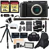 Panasonic DMC-GX8KBODY LUMIX GX8 Interchangeable Lens DSLM Camera Body Only + 2 Transcend 64 GB Class 10 + LED Kit + Ritz Gear 60″ Tripod + Monopod + 2 Spare Batteries + Charger + 2 Bags + More For Sale